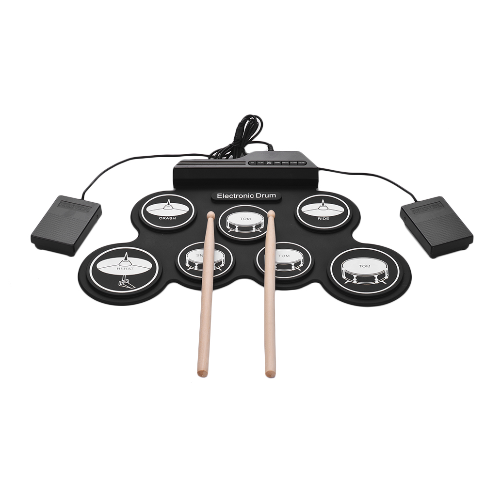 Compact Size USB Roll Up Silicon Drum Set Digital Electronic Drum Kit 7 Drum Pads with