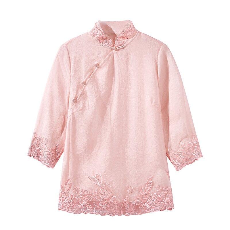 Tang Supérieure Vêtements Soie Manches 2019 Confortable Rose Chemise Col Élégante Dentelle Longues Femmes Top Femelle À Qualité Mandarin KlJu3TF1c
