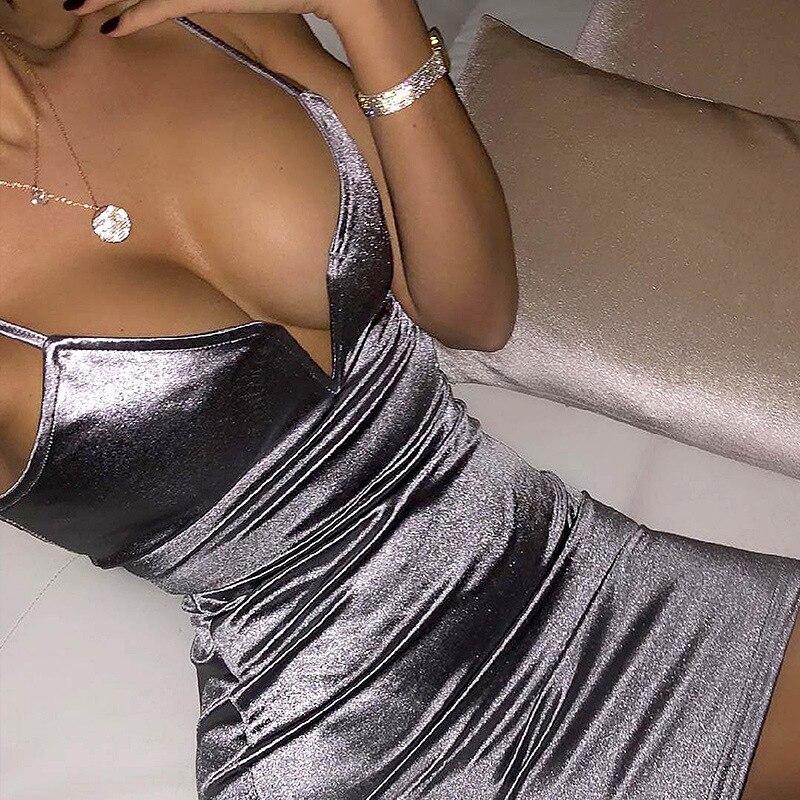 Toplook Bustier Dresses Sexy Women Deep V Neck Satin Booty Dress Fitness high waist Party Night