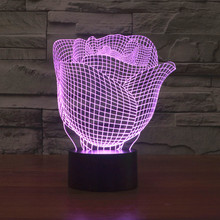 Wholesale 3D Illusion Led Night Lights New Rose Flower Shape USB Table Lamp Creative Nightlights Decorative Lighting luminaria