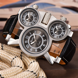 Image 2 - OULM 1167 Mens Vintage Steam Punk Leather Band Watches 3 Time Zone Japan MOVT Casual Quartz Watch