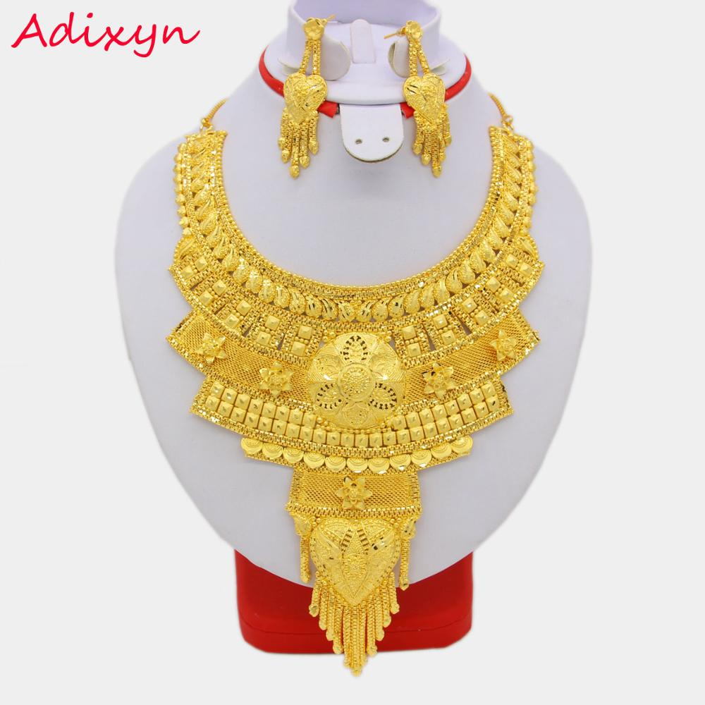 New Fashion Necklace&Earrings Jewelry Set for Women Gold Color & Copper African/Arab/Middle East Wedding/Party Gifts adiors long middle parting shaggy wavy color mix synthetic party wig