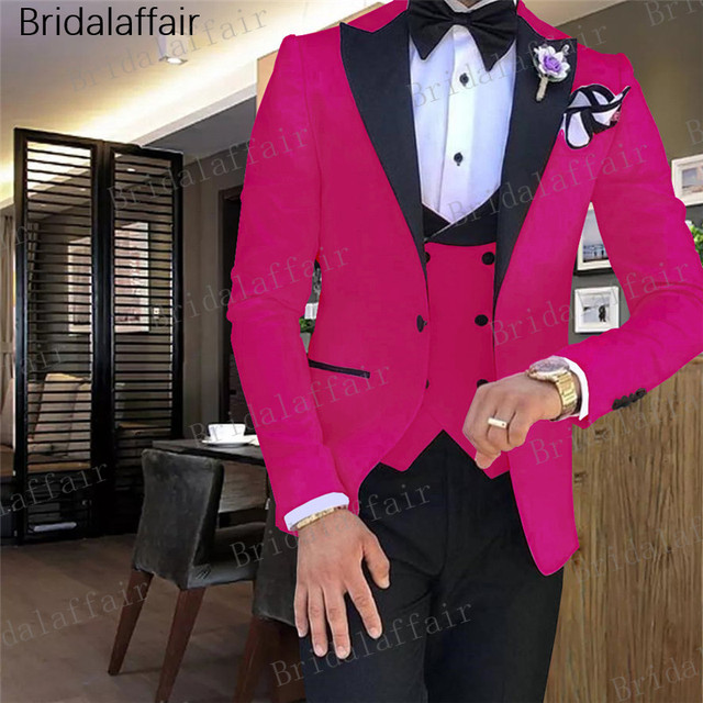 Gwenhwyfar Male Wedding Dress Hot Pink Men's suits Tailored Suit Blazer Suits For Men Peaked Lapel 3 pieces (Jacket+Pants+Vest)