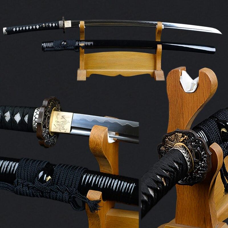 Borda afiada Espada Japonesa Katana Totalmente Artesanal 1095 Aço Carbono Argila Temperado Lâmina Completa Tang Espada Samurai Espada Decorativa
