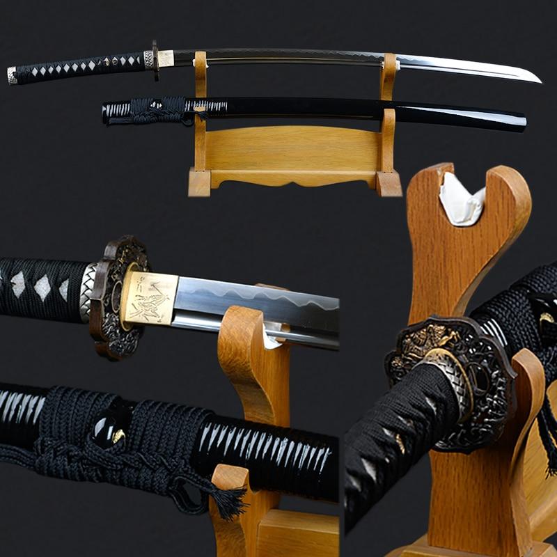 Spigolo Spada Giapponese Completamente Fatto A Mano Katana 1095 Carbon Steel Argilla Temperato Lama Completa di Linguetta Decorativo Spada Samurai Espada