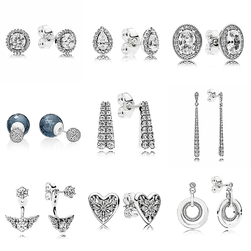Vintage Radiant Teardrops Shooting Stars Earring 925 Sterling Silver Hanging Earrings Studs For Women Party Gift Pandora Jewelry earrings
