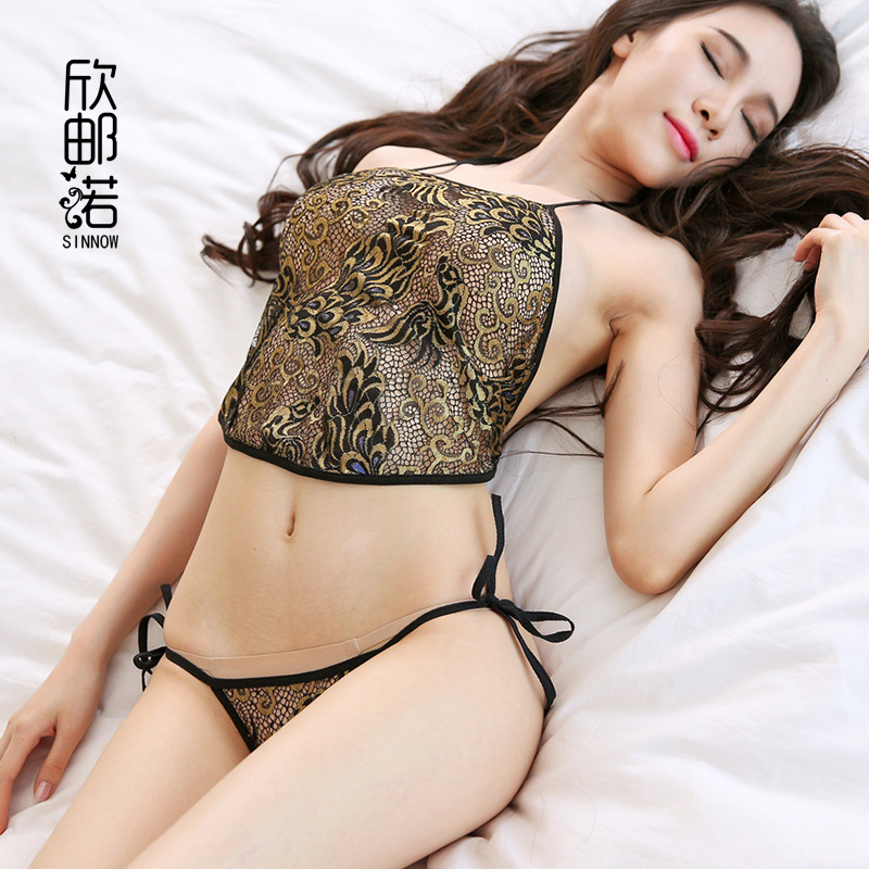 2017 New Wedding Gift Sexy Lingerie Lace Lady Dumplings Transparent Tie Pajamas G-String Halter Neck Chinese Bellyband Chemises
