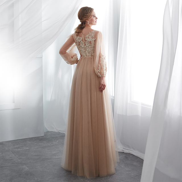 Champagne Prom Dresses Long Puff Sleeves Venice Lace Full Length Evening Dresses Party Gown Formal Dresses vestidos de gala 4
