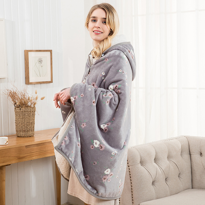 Flannel Blanket Hoodie Travel Totoro Blanket Kids Hooded Blankets Sweatshirt Unicorn Warm Fleece Coats TV Blankets for Beeding 6