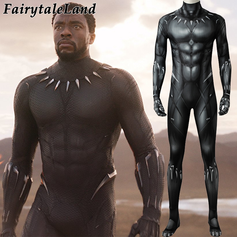 3D Printing Black Panther Jumpsuit Adult Men Carnival Halloween Costume Black Panther Cosplay Costume Superhero Spandex Jumpsuit