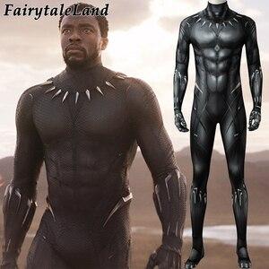 Image 1 - 3D Printing Black Panther Jumpsuit adult Men Carnival Halloween costume Black Panther Cosplay costume Superhero Spandex jumpsuit