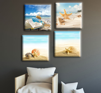 4 Piece Sandy Beach Canvas Wall Art Shell and Starfish Seascape Canvas Print Paintings Landscape Wall Pictures for Living Room