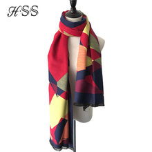 HSS High quality Autumn and Winter Newest Geometric Cashmere Women Scarf Thick Warm Ladies Shawls Pink Blue Color Scarves