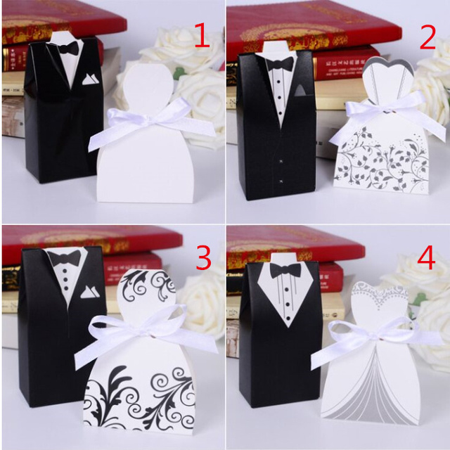 100pcs Wedding Centerpieces Bride And Groom Wedding Favor Candy Box