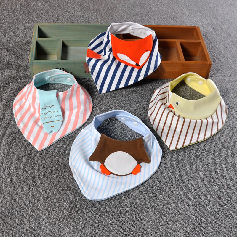 Cartoon Baby Bibs Children Triangular Scarf Cotton Saliva Towel For Babies Separated Towel Cute Kerchief