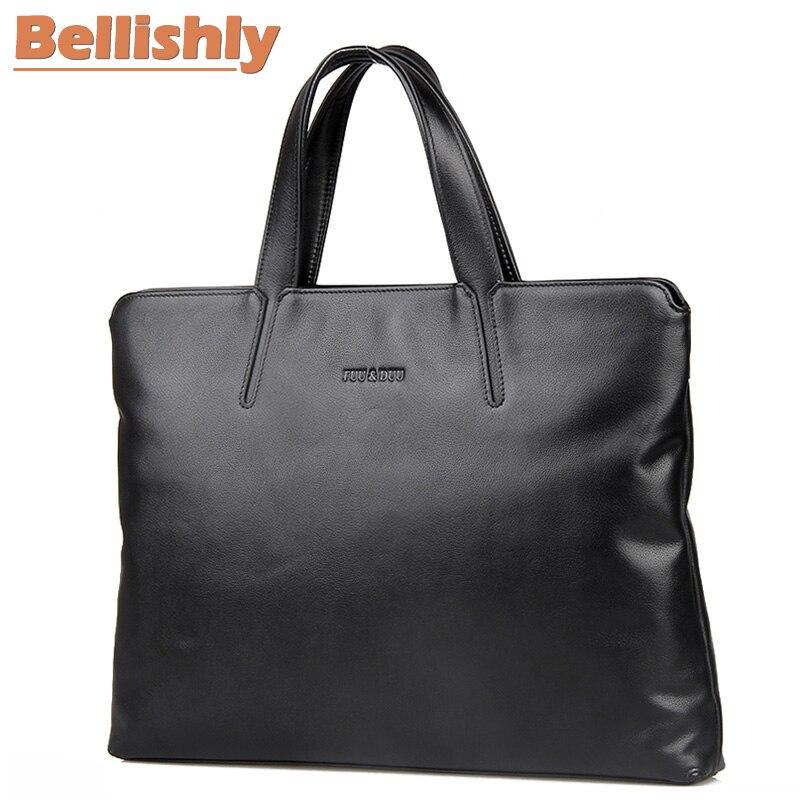 Bellishly Portfolio Office Bags For Men sac Business Handbag Men's Genuine Leather Soft Bag Boss Company Black Classic Briefcase