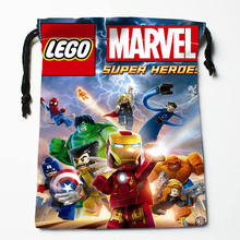 High quality Custom LEGO printing storage bag drawstring bag gift Satin bags 27x35cm Compression Type Bags