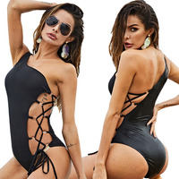 Adogirl Women Sexy One Shoulder Bodysuit Lace Up Hollow Out Rompers Sleeveless Bodycon Suit Casual Playsuit Plus Sizes Overalls
