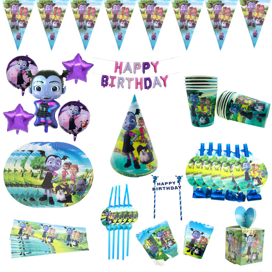 Vampirina Girl Theame Happy Birthday Party Disposable Tableware Plates Cups Balloon Straw Baby Shower Supplies for Girls