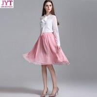 Ücretsiz Kargo 2017 High-end moda faldas kore stil Şifon maxi etekler bayan yaz yüksek bel tutu yetişkin tül etek