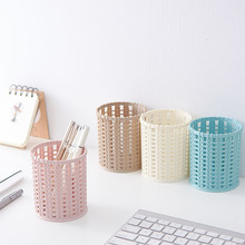 Creative Plastic Rattan Desktop Storage Basket Cylinder Pen Pencil Pot Holder Organizer Dressing Table Makeup Brush Box