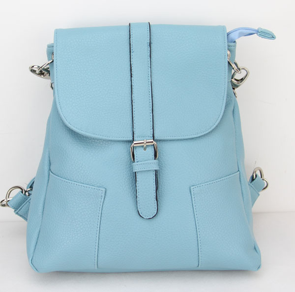 Candy Color Women Backpack two pocket on both side preppy Style Student School  Bag H096 skyblue b8e703e6d22a8