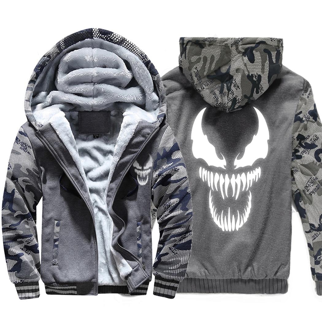 Image 3 - Venom Hoodies Men Movie Night Glow Hooded Sweatshirts Harajuku Coat Winter Thick Fleece Jacket Cool Noctilucent Streetwear-in Jackets from Men's Clothing