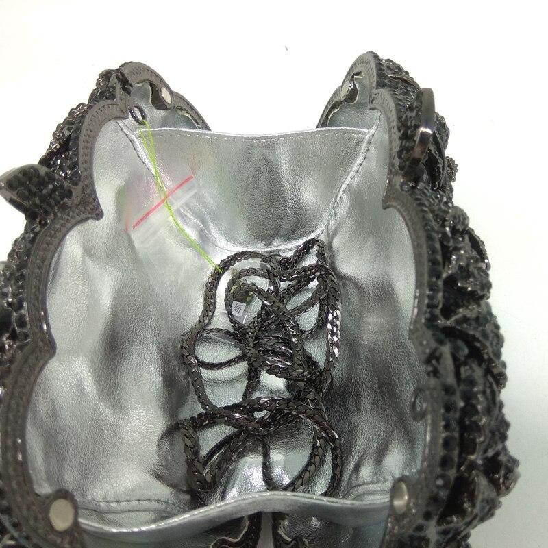 Бутик де FGG угольно черный кристалл клатч вечерняя сумка для женщин металлический клатч с цветочным принтом Свадебная вечеринка Цветок Роза сумочка и кошелек - 6
