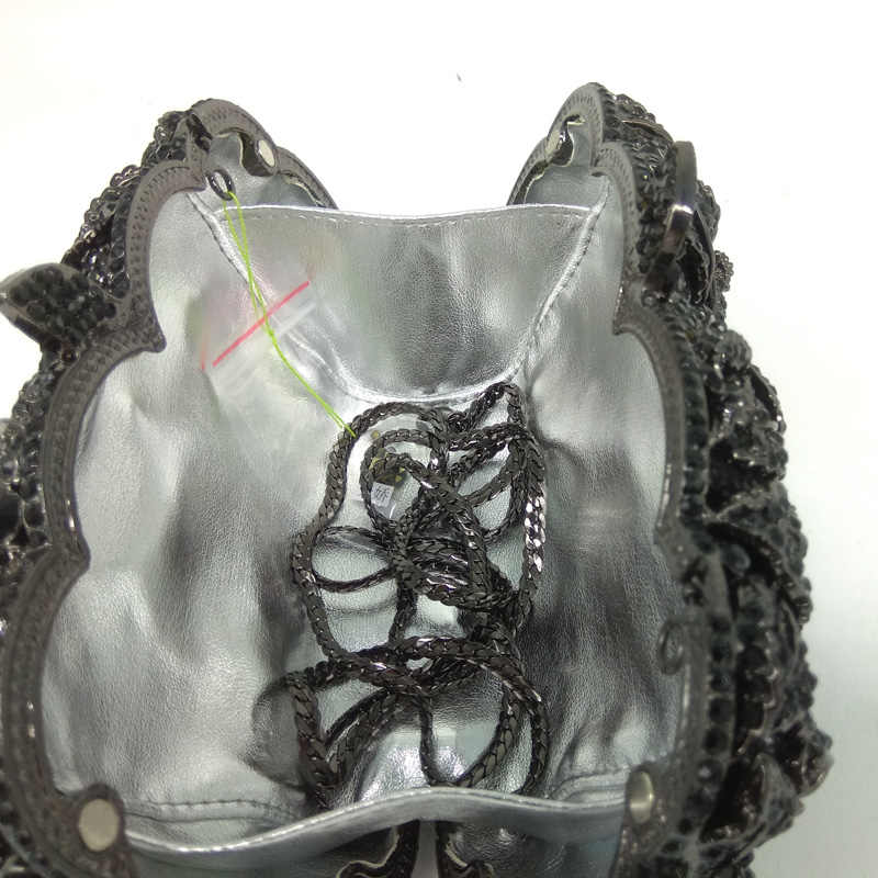Бутик де FGG угольно-черный кристалл клатч вечерняя сумка для женщин металлический клатч с цветочным принтом Свадебная вечеринка Цветок Роза сумочка и кошелек