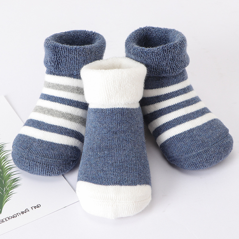 KiDaDndy 3 Pairs/lot Winter Autunm Baby Socks Striped Thickened Warm Baby Cotton Socks Newborn Wool Sock Children 0-3Y SO552A