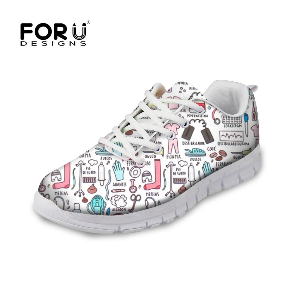 FORUDESIGNS Sneakers Flats Comfortable Shoes Nurse-Pattern Casual Women Cartoon Cute