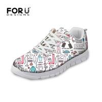 FORUDESIGNS Hot Sale Nurse Pattern Women Casual Sneakers Flats Female Cartoon Nurses Cute Women's Comfortable Shoes Girls Light