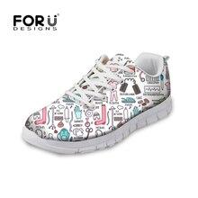 FORUDESIGNS Hot Sale Nurse Pattern Women Casual Sneakers Flats Female Cartoon Nurses Cute Womens Comfortable Shoes Girls Light