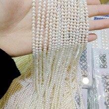 Одна прядь 3-4 мм яркие белые маленькие жемчужины натуральные пресноводные жемчужные бусины россыпью 35 см/14,5 дюйма DIY