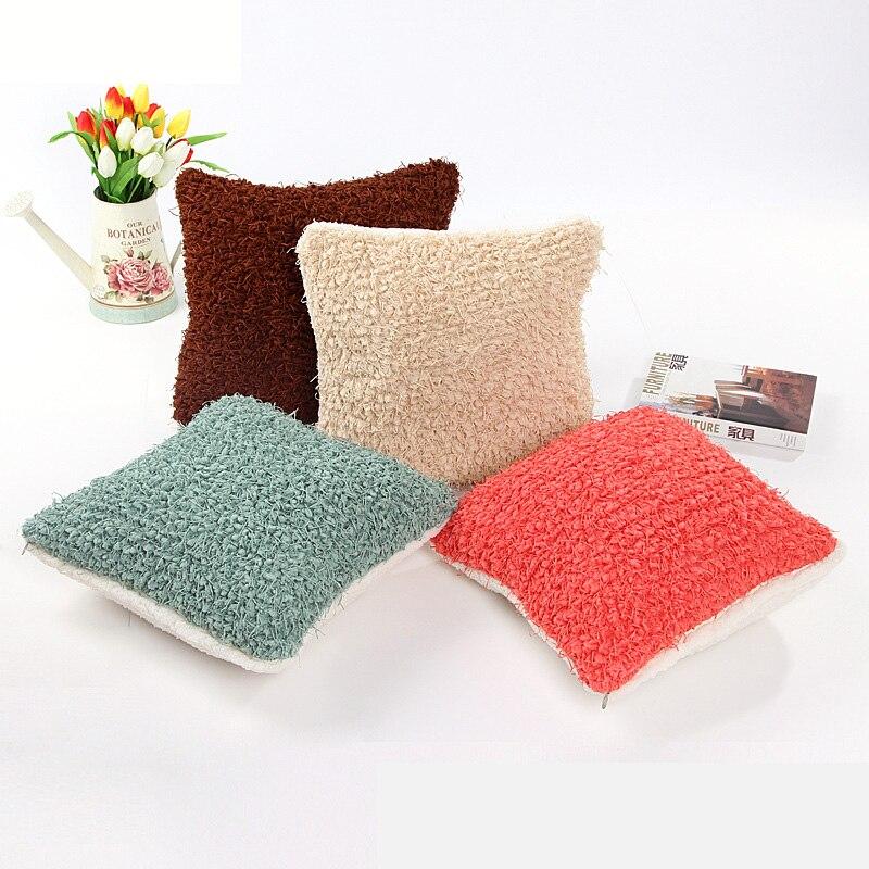 Breve color sólido patrón Almohadas cubierta 40*40 cm artificial ...