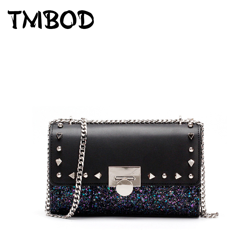 New 2018 Design Women Small Flap with Sequins Studs Messenger Bag Split Leather Handbags Lady Crossbody Bags For Female an972