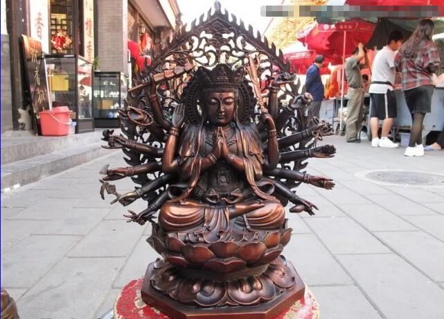 S0437 Tibet Red Bronze Copper 18 Hand Arm Quasi Bodhisattva Kwan-Yin Guan Yin Statue D0318