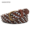Casual Belt Men Genuine Leather Golf Sport Belt Braided Leather Cotton Canvas Belt For Men Top Grain Leather And Wax Rope Mixed
