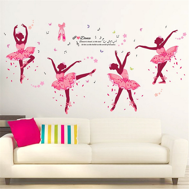 Wall Stickers Diy Ballet Girls Wall Decor Art For Kids Rooms Home Bedroom Wall Decals Poster Living Class Room Decoration