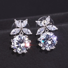 Alibaba Express Cubic Zirconia Silver Color Leaf Drop Earrings For Women Bride Gorgeous