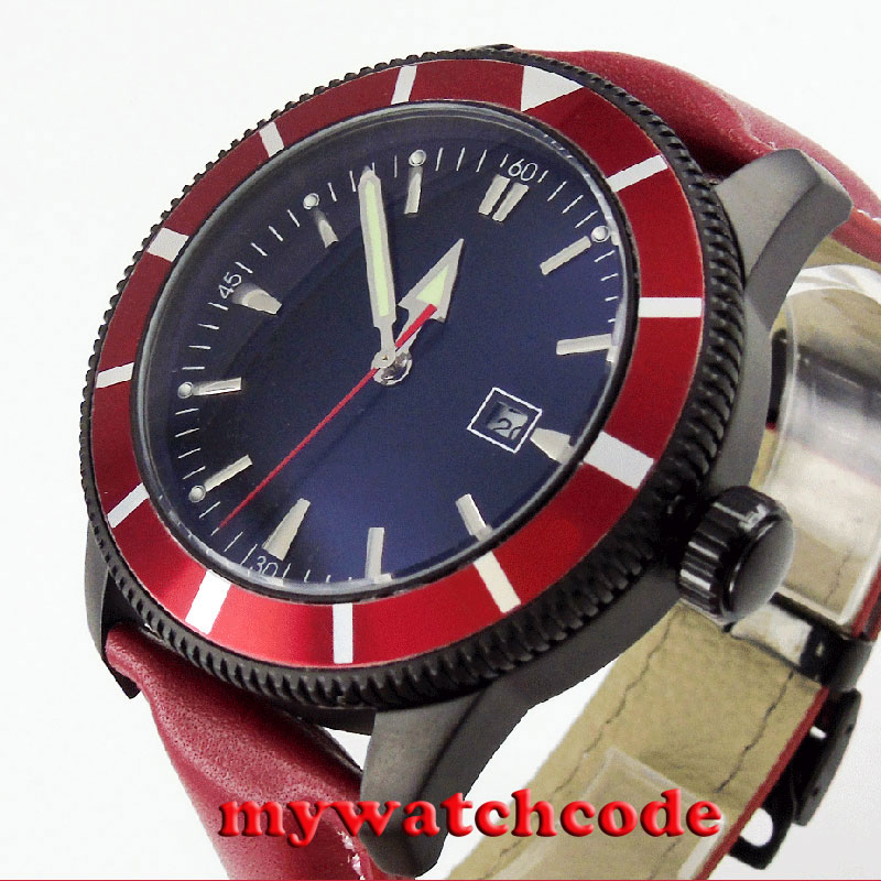 46mm bliger black dial PVD case red bezel insert automatic mens wrist watch B128 цена и фото