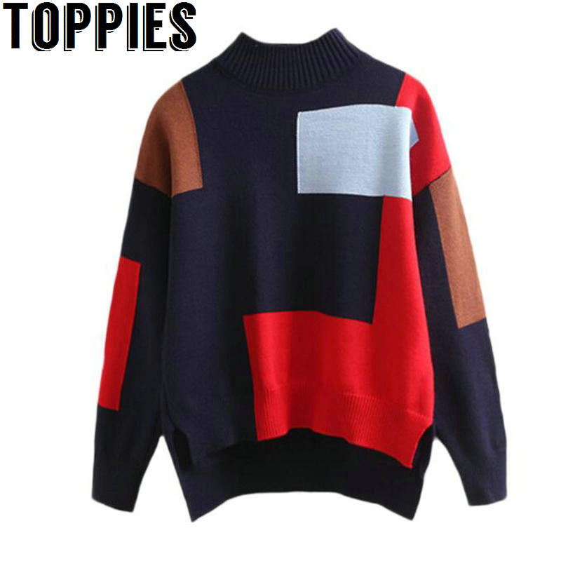 2017 Pull Femme Women winter turtleneck sweater patchwork colors oversize knit pullovers ...
