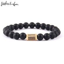 WML 2017 Luxury Men Bracelet Pave CZ Column Charm Natural Stone Bead & bangles For Jewelry