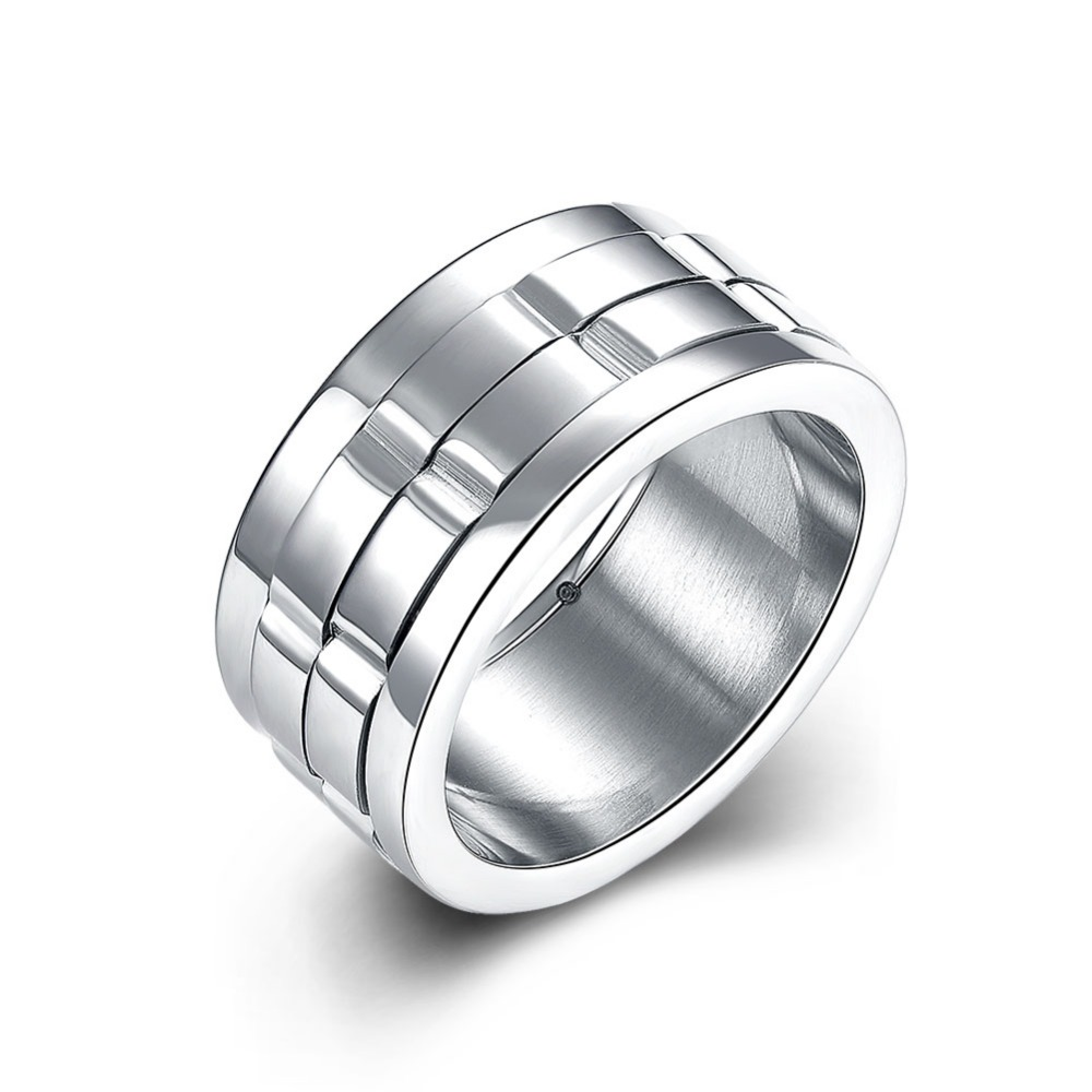 10mm Wide Silver Spinner Dual Layer Stainless Steel Rings For Men Women  Fashion Titanium Wedding Engagement Finger Ring