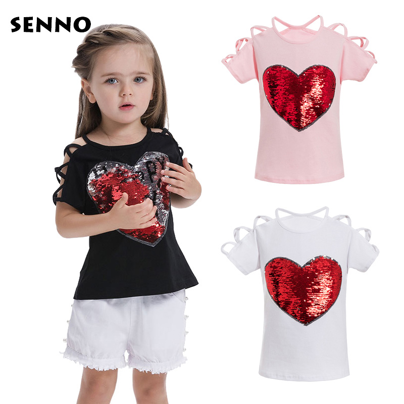 Heart Color Changing Reversible Sequins Hearts Girls T-shirts with Sequins Discoloration Tee Shirt Tshirts Kids Sequin Clothing magic glitter cherry color change flip double sided t shirt with sequins girls kids sequin top mermaid reversible sequin clothes