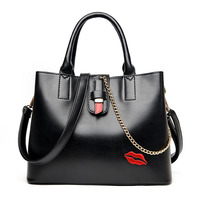 Women Handbags Shoulder Bags PU Leather Women Handbag Big Embroidered Lips Solid Color Women Crossbody Bag Women