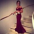 Robe De Soirée Sirena Burgundry Vestido de Fiesta de Noche Largo Elegante Vestido De Festa Fuera Del Hombro Vestido de Fiesta 2016 Con cinturón