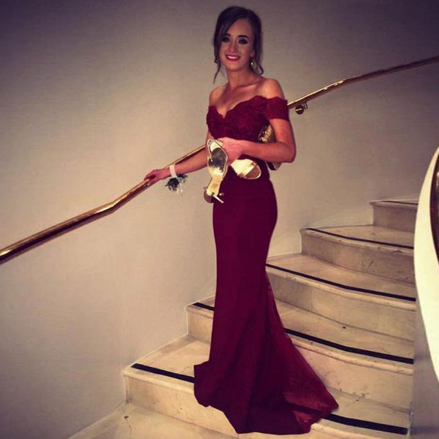 Robe De Soiree Mermaid Burgundry Long Evening Dress Party Elegant Vestido De Festa Off The Shoulder Prom Gown 2016 With Belt
