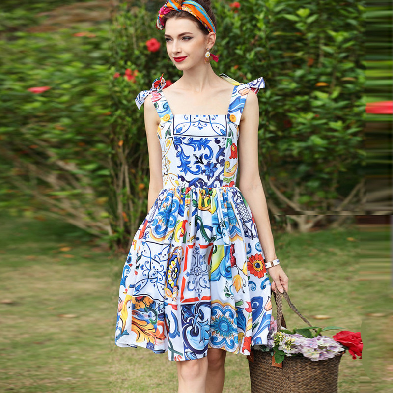feb9665a00656 US $46.49 15% OFF Holiday Summer Sexy Backless Dresses 2019 Women Girl  Fashion Cute Sicily Porcelain Tile Patterns Print Sleeveless Dress  Jc2944-in ...