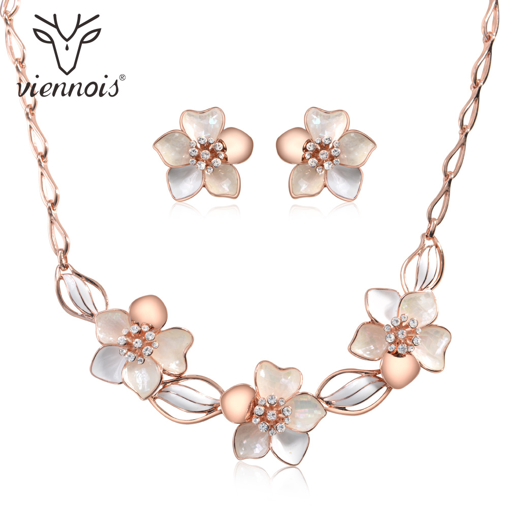 Viennois Wedding Jewelry Set For women Rhinestone Sea Shell Pieces Earrings Necklace Set Bridal Jewelry Set